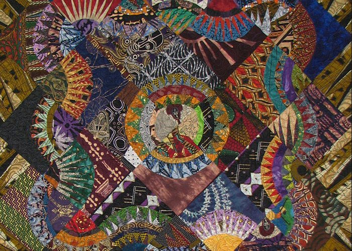 Quilt Greeting Card featuring the tapestry - textile The Stars Come Out by Aisha Lumumba