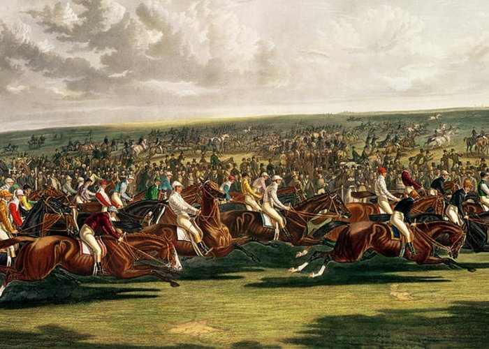 Horse Racing Greeting Card featuring the painting The Start Of The Memorable Derby Of 1844 by Charles Hunt