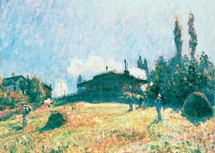 La Gare De Sevres; Steam Train; Impressionist; Landscape; Railway; Hillside Greeting Card featuring the painting The Station At Sevres by Alfred Sisley