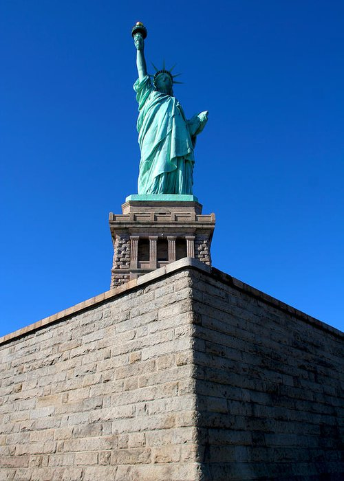 Statue Of Liberty Greeting Card featuring the photograph The Statue by Allan Lovell
