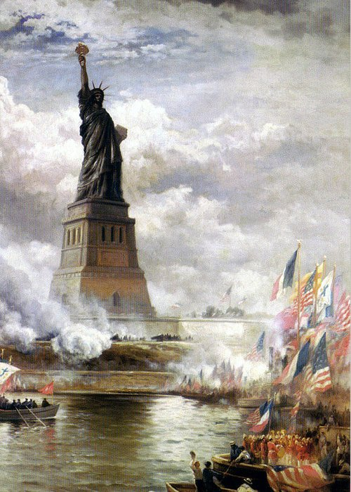 Moran Edward Unveiling Greeting Card featuring the painting The Statue Of Liberty by MotionAge Designs