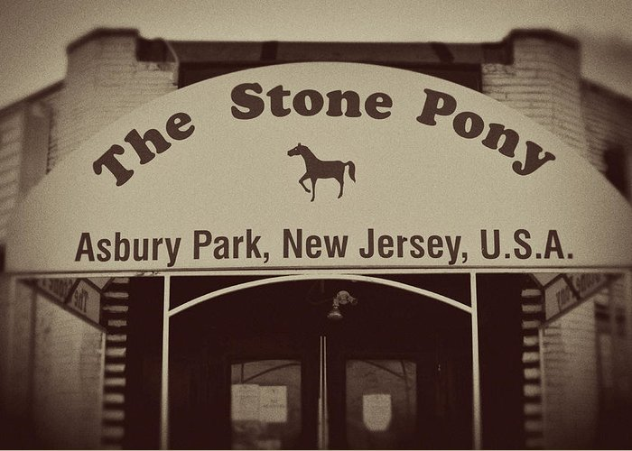 The Stone Pony Vintage Asbury Park New Jersey Greeting Card featuring the photograph The Stone Pony Vintage Asbury Park New Jersey by Terry DeLuco