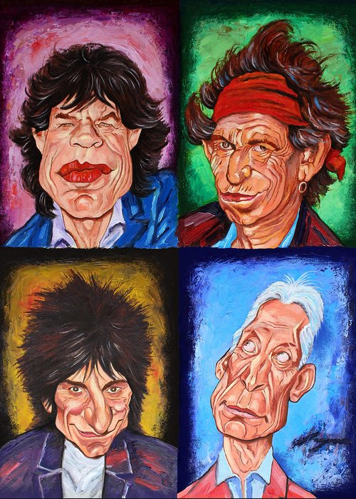 The Rolling Stones Greeting Card featuring the painting The Rolling Stones by Dan Haraga