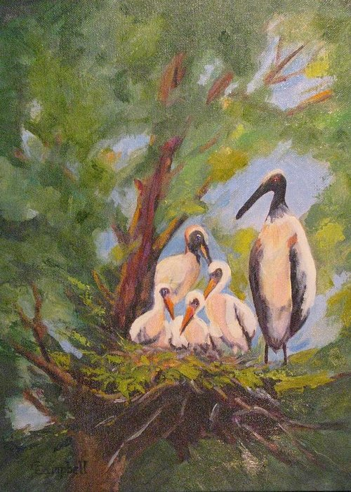 American Stork Greeting Card featuring the painting The Stork Brought Them by Cecelia Campbell