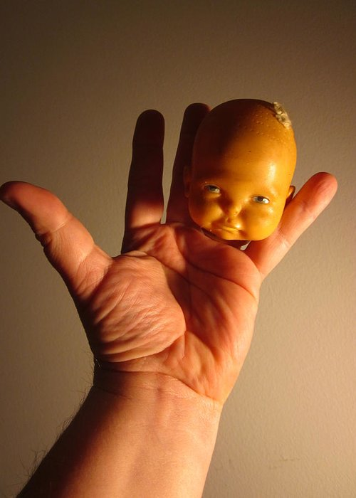 A Head Of A Doll And A Hand And Fingers As Body Make Up A Very Odd And Greeting Cards