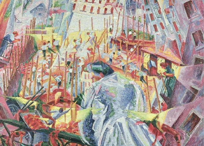 Futurist Greeting Card featuring the painting The Street Enters The House by Umberto Boccioni
