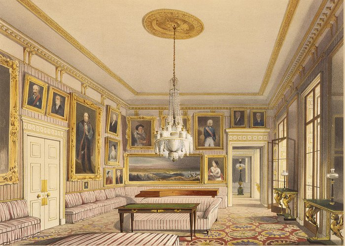 Hyde Park Corner Greeting Card featuring the painting The Striped Drawing Room, Apsley House by Thomas Shotter Boys
