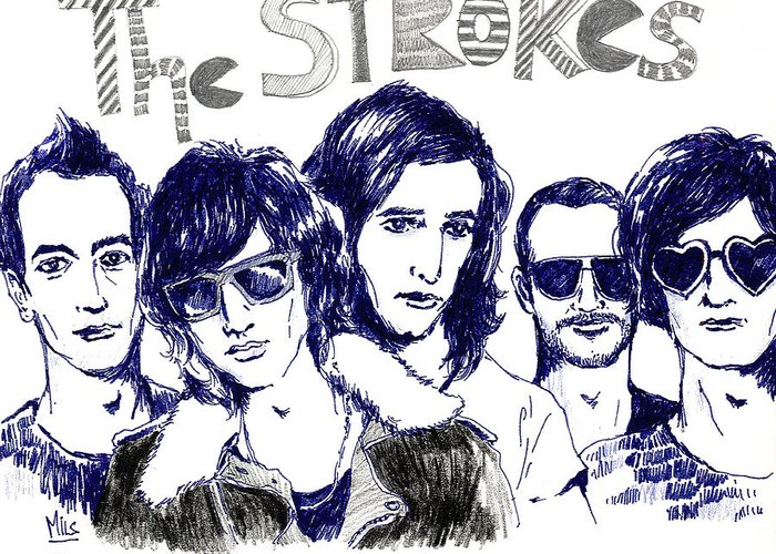 The Strokes Greeting Card featuring the drawing The Strokes by Mils Gan