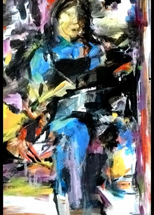 Abstract Greeting Card featuring the painting The Student II by John L Campbell