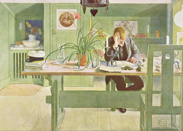 Reading Greeting Card featuring the painting The Study Room, Pub. In Lasst Licht by Carl Larsson