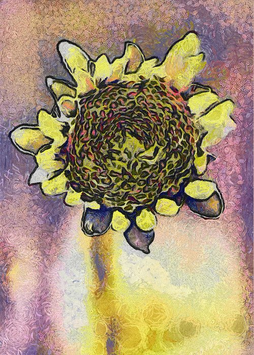 Spring Greeting Card featuring the painting The Sunflower by Odon Czintos