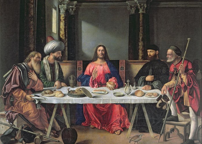 Interior Greeting Card featuring the painting The Supper At Emmaus by Vittore Carpaccio