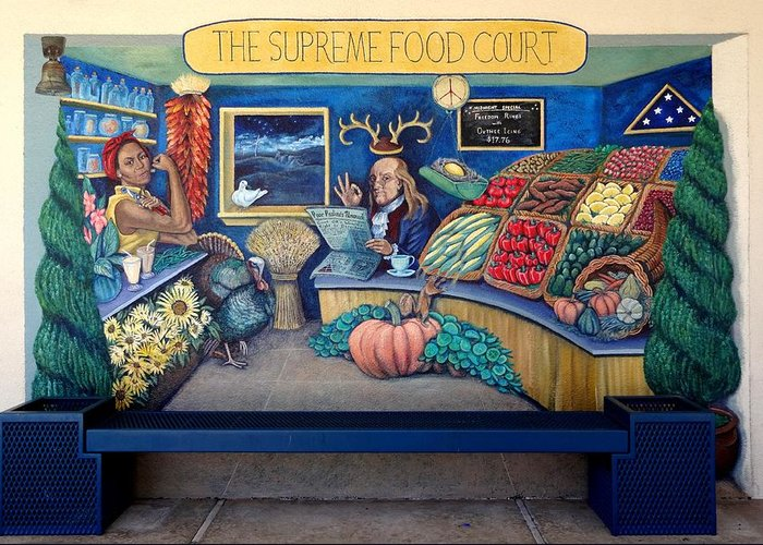 Mural Greeting Card featuring the painting The Supreme Food Court by Elizabeth Criss