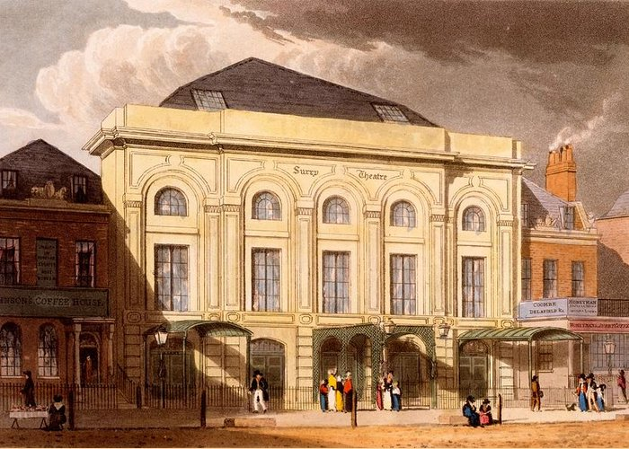 The Surrey Theatre Greeting Card featuring the drawing The Surrey Theatre, London, 1826 by Daniel Havell