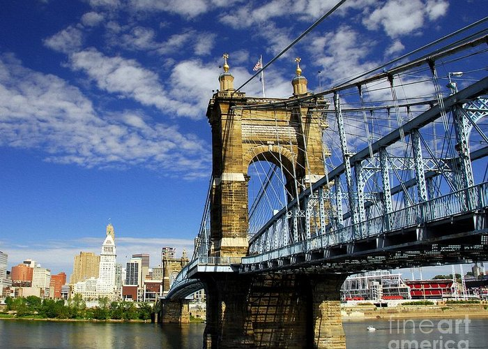 Cityscapes Greeting Card featuring the photograph The Suspension Bridge by Mel Steinhauer