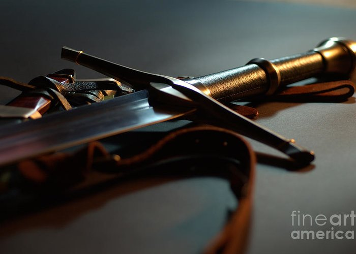 Sword Greeting Card featuring the photograph The Sword Of Aragorn 1 by Micah May