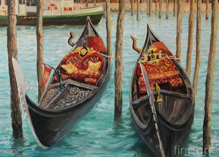 Adriatic Greeting Card featuring the painting The Symbols Of Venice by Kiril Stanchev