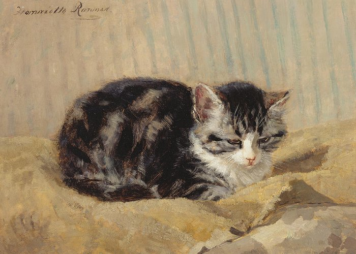 Cat Greeting Card featuring the painting The Tabby by Henriette Ronner-Knip