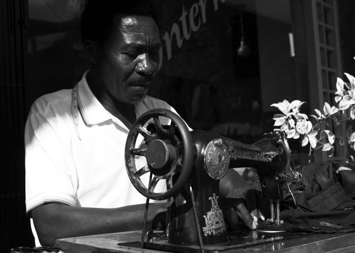 People Greeting Card featuring the photograph The Tailor - Tanzania by Aidan Moran