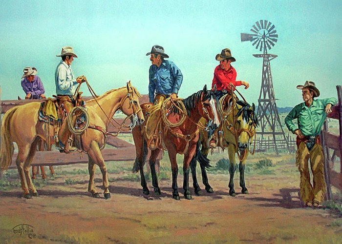 Cowboy. Horse Greeting Card featuring the painting The Tale Spinner by Randy Follis