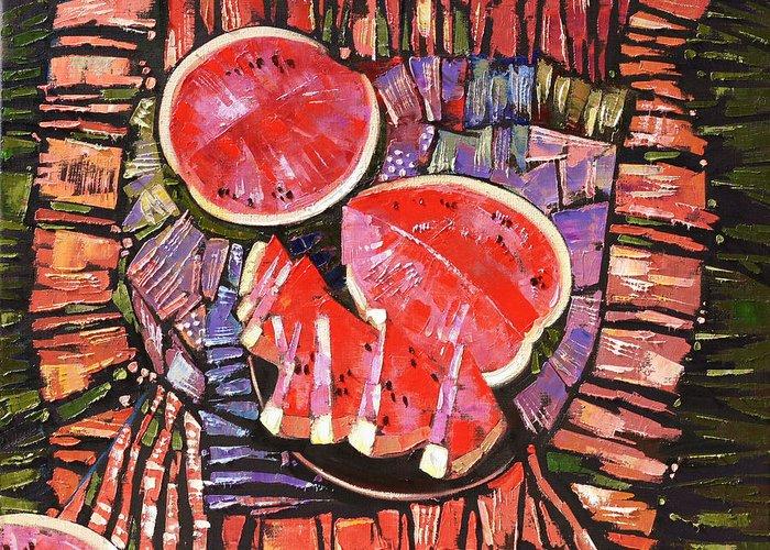 Oil On Canvas Greeting Card featuring the painting The Taste Of Summer. by Anastasija Kraineva