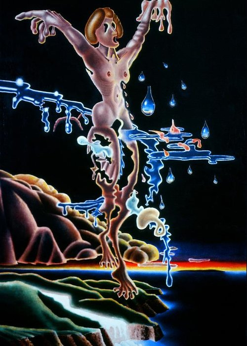 Surrealism Greeting Card featuring the painting The Tears Of Christ by Dave Martsolf