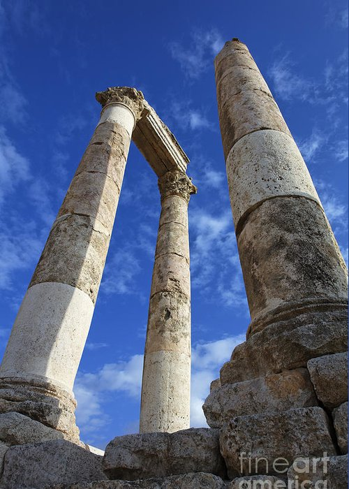 Column Greeting Card featuring the photograph The Temple Of Hercules In The Citadel Amman Jordan by Robert Preston