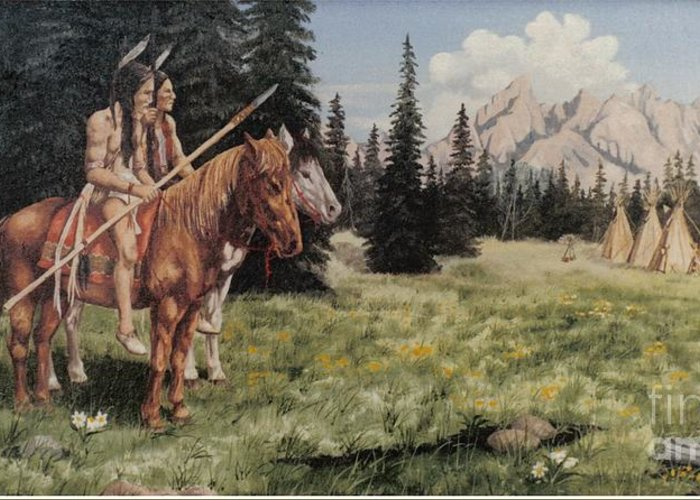 Landscape Greeting Card featuring the painting The Tetons Early Tribes by Wanda Dansereau