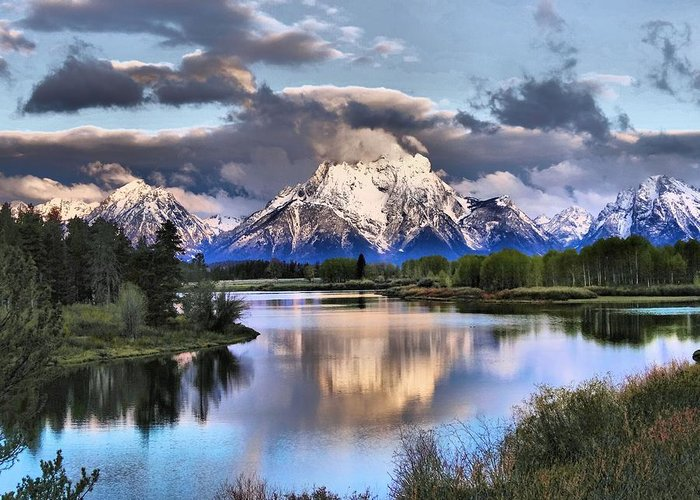 Mount Moran Greeting Card featuring the photograph The Tetons From Oxbow Bend by Dan Sproul