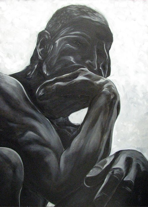 Black And White Paintings Greeting Card featuring the painting The Thinker by Aimee Vance