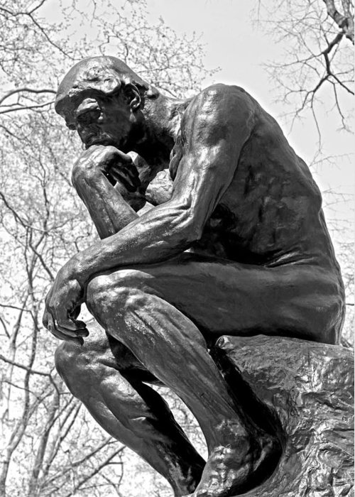 City Scenes Greeting Card featuring the photograph The Thinker In Black And White by Lisa Phillips