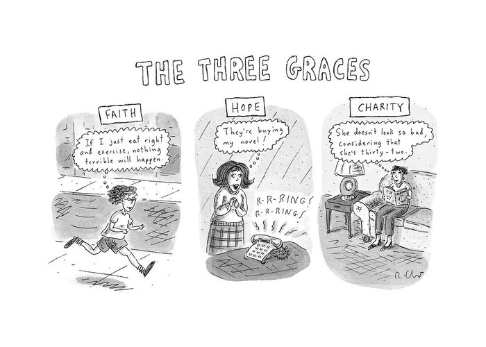Women Greeting Card featuring the drawing 'the Three Graces' by Roz Chast
