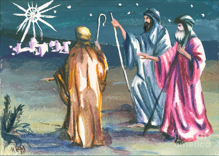 Christmas Greeting Cards Greeting Card featuring the painting The Three Kings by Elisabeta Hermann