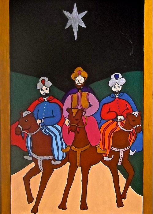 Kings Greeting Card featuring the painting The Three Kings by Stephanie Moore
