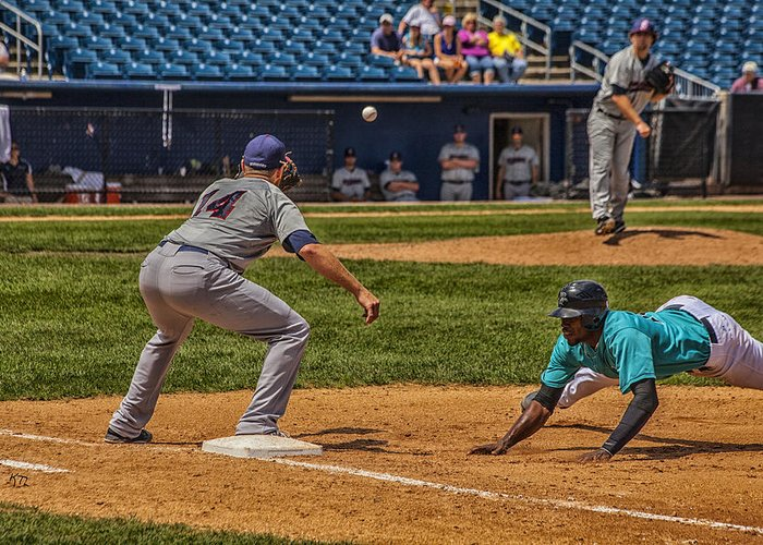 Baseball Greeting Card featuring the photograph The Throw To First by Karol Livote