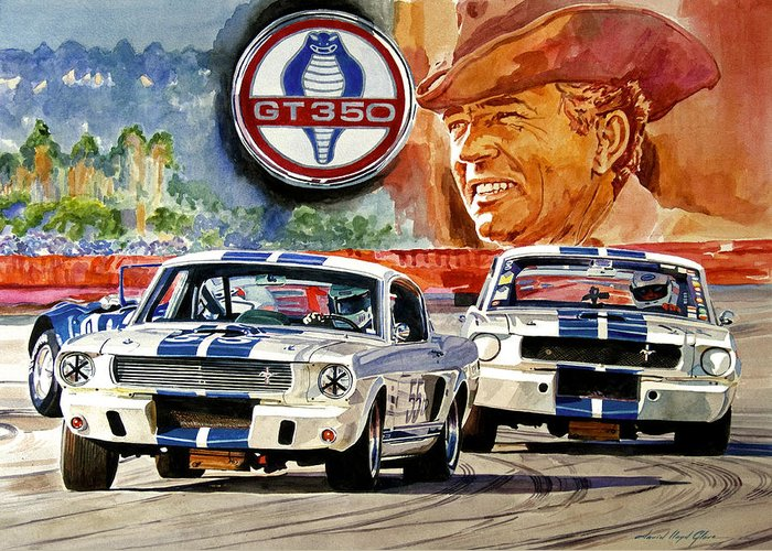 Shelby Artwork Greeting Card featuring the painting The Thundering Blue Stripe Gt-350 by David Lloyd Glover