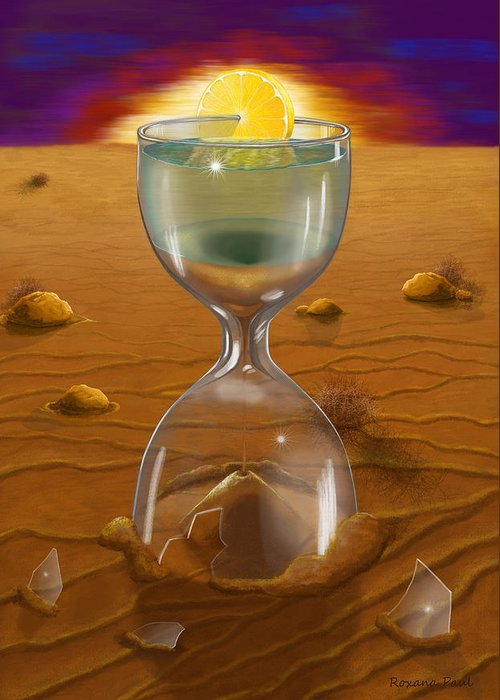 Sand Clock Greeting Card featuring the digital art The Time Of Creation by Roxana Paul