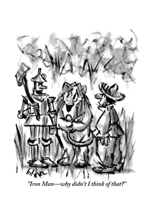 The tin man talks to the cowardly lion greeting card for sale by lee wizard of oz greeting card featuring the drawing the tin man talks to the cowardly lion m4hsunfo