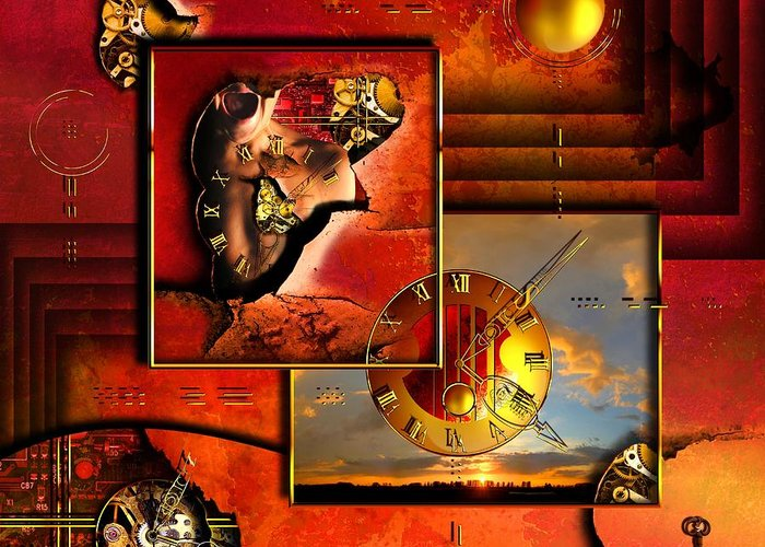 Clock Greeting Card featuring the digital art The Tortures Never Stop by Franziskus Pfleghart