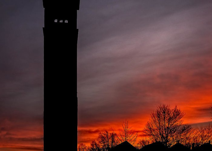 Buffalo Tower Greeting Card featuring the photograph The Tower @ Dawn - Square Silhouette by Chris Bordeleau