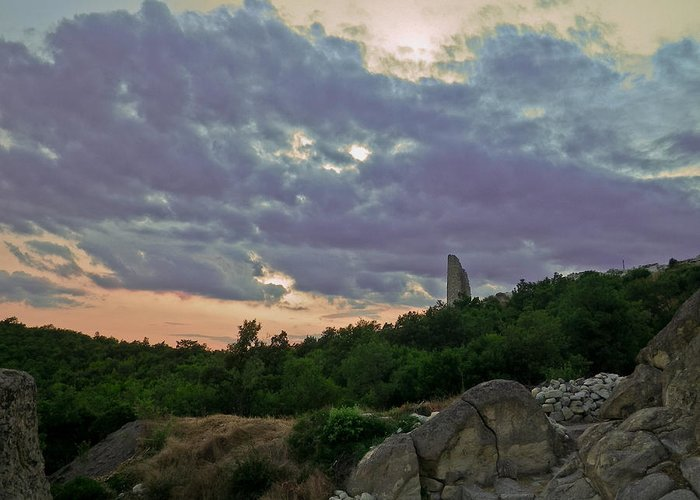 Perperikon Greeting Card featuring the photograph The Tower by Eti Reid
