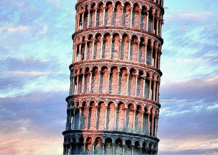 Tower Greeting Card featuring the painting The Tower Of Pisa by Florian Rodarte