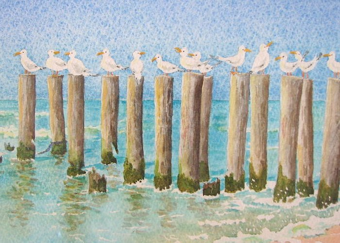 Seagulls Greeting Card featuring the painting The Town Meeting by Mary Ellen Mueller Legault