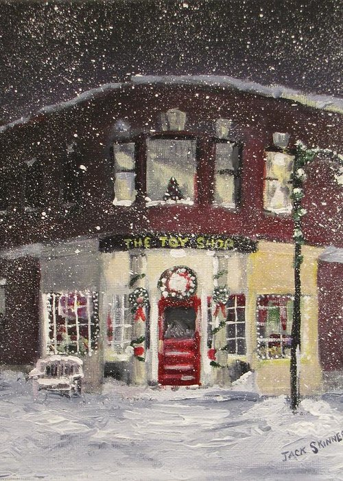 Christmas Greeting Card featuring the painting The Toy Shop by Jack Skinner