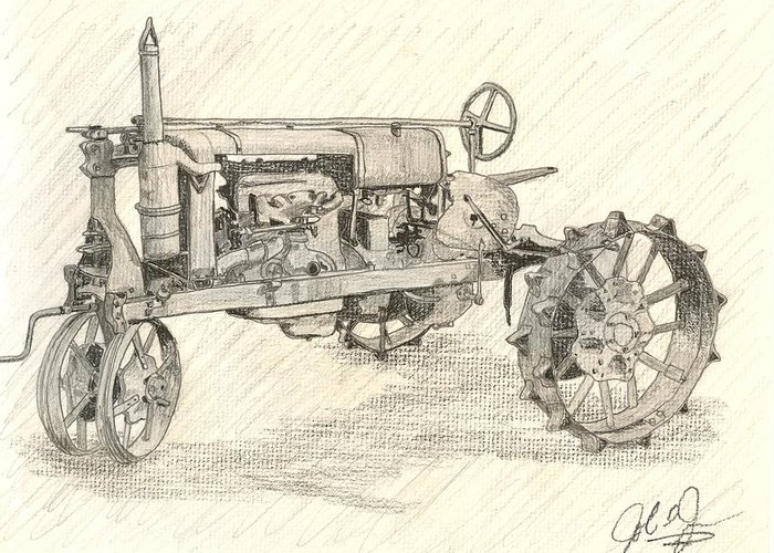 Tractor Greeting Card featuring the drawing The Tractor by John Jones
