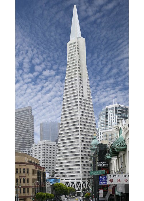 Transamerica Pyramid Greeting Card featuring the photograph The Transamerica Pyramid - San Francisco by Mike McGlothlen