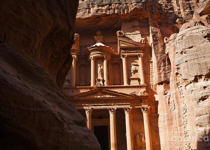 Petra Greeting Card featuring the photograph The Treasury Seen From From The Siq Petra Jordan by Robert Preston