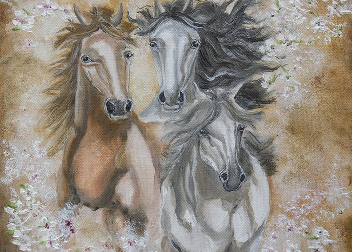 Horses Portrait Oil Painting Canvas Greeting Card featuring the painting The Trio by Iliyana Lazarova