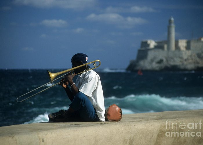 Cuba Greeting Card featuring the photograph The Trombonist by James Brunker