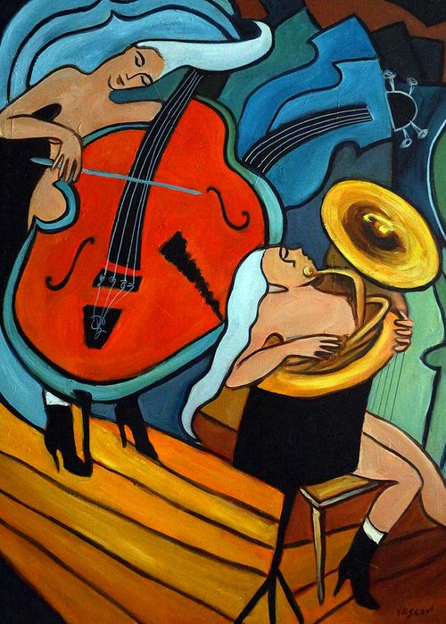 Musician Abstract Greeting Card featuring the painting The Tuba Player by Valerie Vescovi